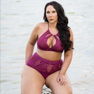Figleaves Curve High Neck Embellished Bikini Set